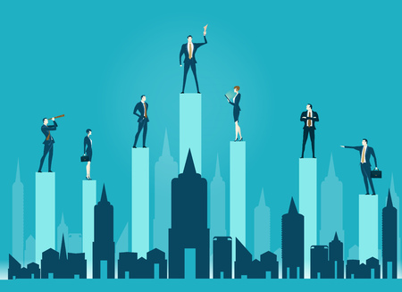Group of business people staying on top of the chart bars in the City. Business concept illustration Illustration