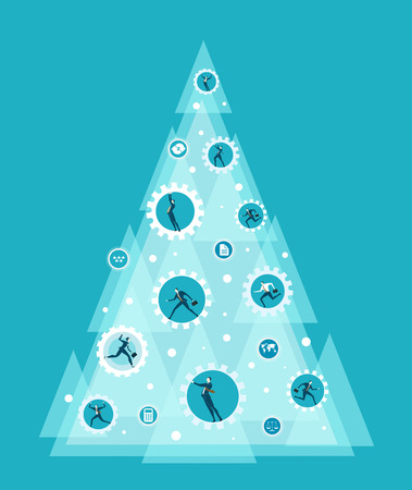 Business style Christmas tree decorated with working gears and people spinning it Illustration