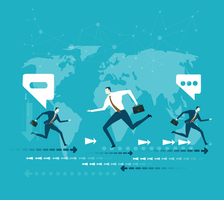 ambitious: Business people running in front of the world map. Global business concept Illustration