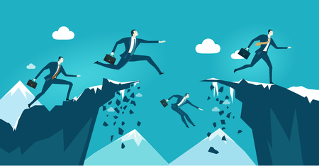Business people jumping over the canyon. Business concept illustration