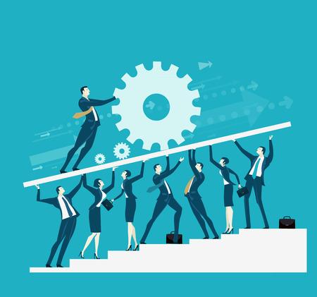 Business-Team unterstützt die Basis für den Führer, der die Ausrüstung bewegt. Zusammenarbeit, Unterstützung und Lieferkonzept.