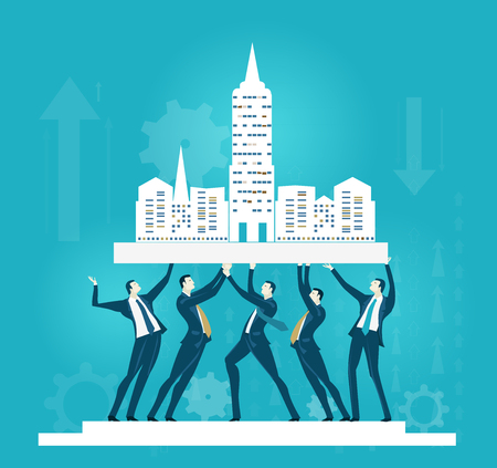 Group of business people holding up the City. Business concept illustration Illustration