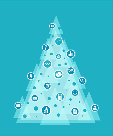 Business style Christmas tree decorated with communication icons