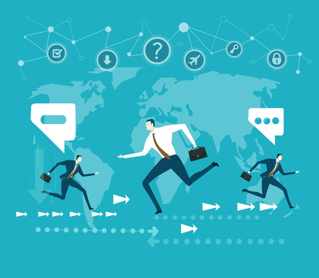 Business people running in front of the world map. Global business concept Illustration