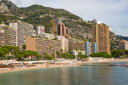 Monaco, Montecarlo - September 17, 2017: Montecarlo beach and princess Grace avenue view with residential buildings
