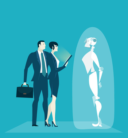 Robot introduction, Robotic Process Automatisation, RPA concept. New era in business. Humans vs Robot
