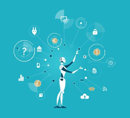 ロボット、通信アイコンを使用してプロセスを制御する人工知性。将来現実の人間対ロボット 写真素材 - 91002798