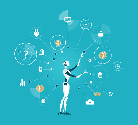 Robot, artificial intellect controlling the process with communication icons. Future reality humans vs robots Illustration