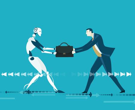 Empresários e robôs lutando por participar do processo de liderança. Futura realidade, ilustração do conceito de intelecto artificial