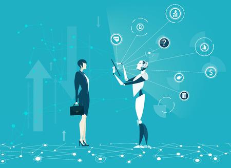 Robot identifying a human.  Future business reality, Robots VS Humans