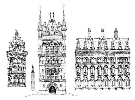 Architectural details of building St. Pancras railway station in London. Sketch collection Ilustração
