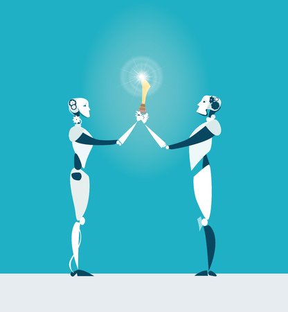 Two robots holding up trophy. Business and technology  concept illustration Illustration