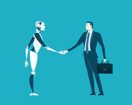 Humans vs Robots. New era of artificial intelligence controlling, supporting, making decisions and creating ideas. Stock Illustratie
