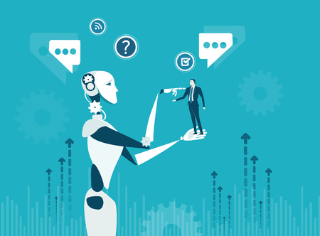 Humanos contra Robots. Nueva era de inteligencia artificial controlando, apoyando, tomando decisiones y creando ideas. Ilustración de vector