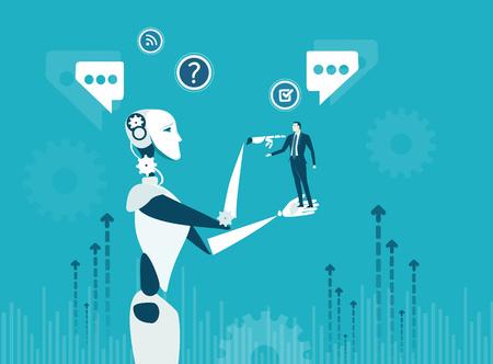 Menschen gegen Roboter. Eine neue Ära der künstlichen Intelligenz, die Entscheidungen steuert, unterstützt, Entscheidungen trifft und Ideen schafft. Vektorgrafik