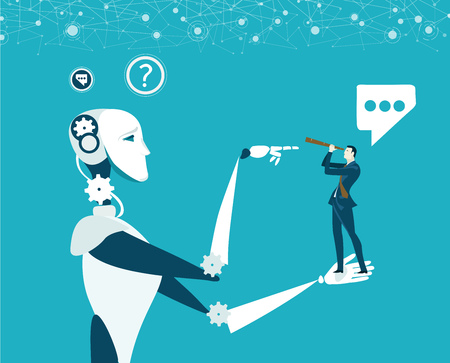 Humans vs Robots. New era of artificial intelligence controlling, supporting, making decisions and creating ideas. Illustration