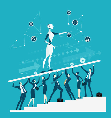 Group go business people holding up the platform with robot. New era of artificial intelligence controlling, supporting, making decisions and creating ideas. Illustration