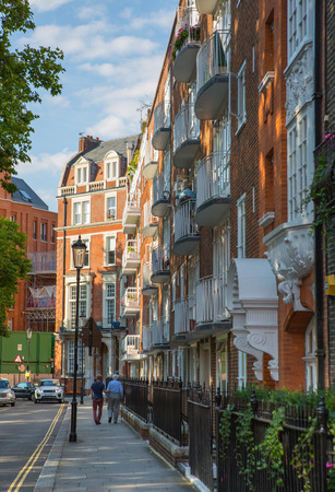 London, UK - August 25, 2017: Residential aria of Kensington and Chelsea. Cadogan square with row of periodic buildings. Luxury property in the centre of London.