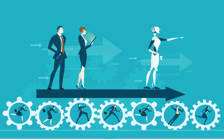 RPA Illustrazione di concetto di automatismo del progresso robotizzato. Umano vs Robot. Archivio Fotografico - 93446422