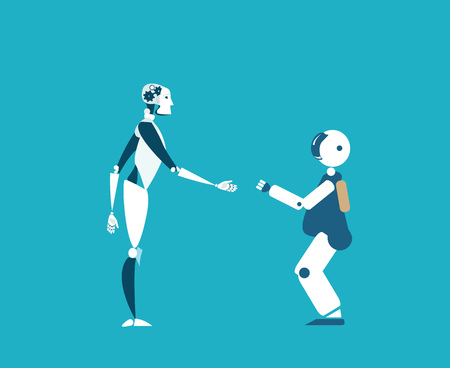 Robots are future reality, babysitters, helpers and teachers. RPA, Robotic Process Automatisation concept.