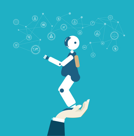 Human's hand holding friendly looking robot.  RPA, Robotic Process Automatisation concept. Illustration