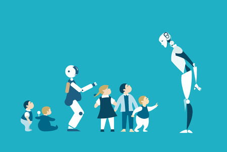 Robots are future babysitters and teachers. RPA, Robotic Process Automatisation concept.