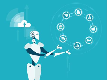 Illustration de concept automatisation du progrès robotique. Robot en rotation des icônes de communication Vecteurs