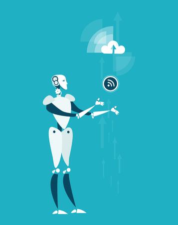 RPA Robotic progress automatisation concept illustration. Robot holding wifi symbol