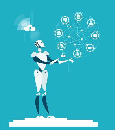 RPA Robotic progress automatisation concept illustration. Robot rotating communication icons
