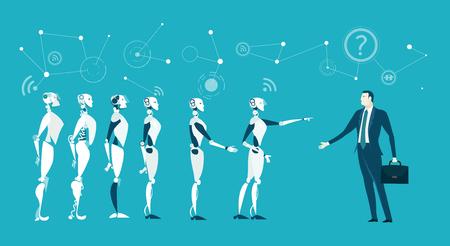 Robot identifying a human.  Future business reality, Robots VS Humans Stok Fotoğraf - 96800403