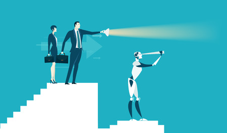 Business people supporting and giving the priority to the robot.  Future business reality, Robots VS Humans