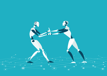 RPA, Robotic progress automatisation concept illustration. Two robot fighting for the leading position