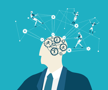 Abstract thinking businessman, making decision, controlling and supporting idea concept illustration.