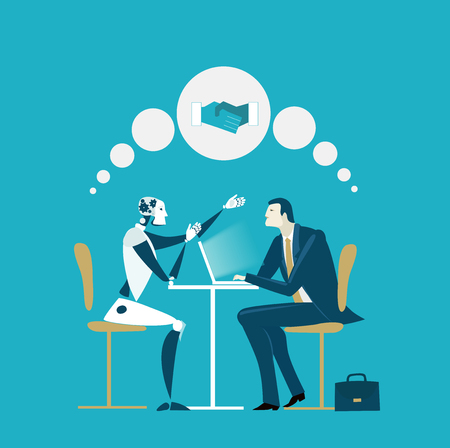 Businessmen and robot having discussion. Future reality, artificial intellect. Humans vs robots. Illustration