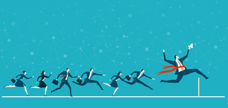 Businessman holding up loudhailer and running first on the finish line, winning concept business illustration