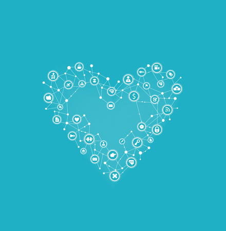 Heart made of communication icons. Feelings and emotions in Modern life Vector illustration.