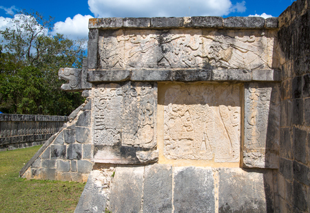 Mexico, Yucatan, Chichen Itza - February 17, 2018: Mayan Great Ball court and Temple of Jaguar Editorial