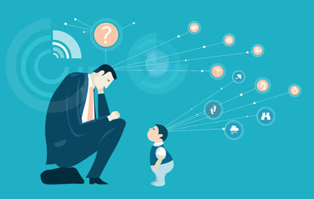 Thinking businessmen and little child. Two generations communication. Illustration