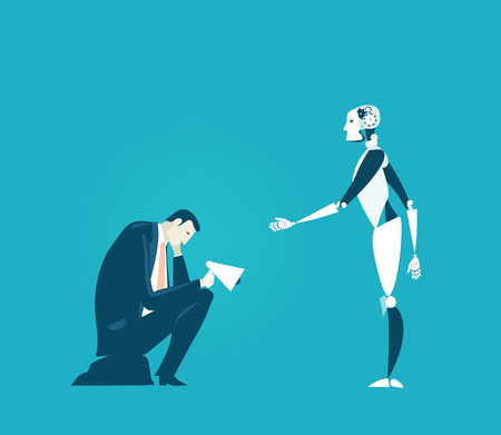 Thinking businessmen. Robot trying to identify and sort out the problem. Artificial intellect, robots taking over.