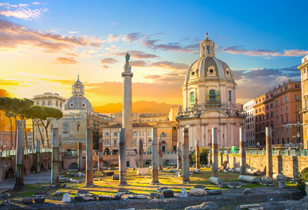 Rome, Italy.  Trajans Forum with ruins of important ancient government buildings started 7th century BC, 300 metres (980 feet) long and 185 metres (607 feet) wide. Trajan column in the middle