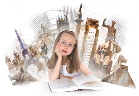 Pretty english girl with books, studying. English educational concept image with symbols of human  history at the background
