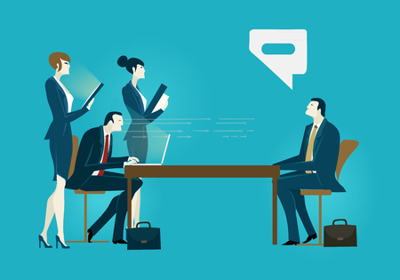 Two businessmen with assistants on the meeting negotiating the deal. Business developing and deal support concept illustration. Illustration