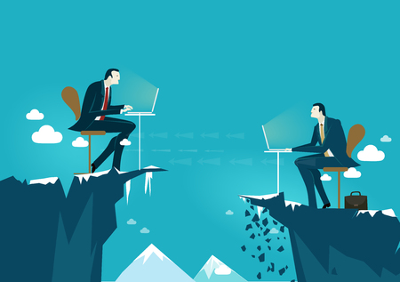 Two businessmen working together on the edge of canyon in very risky situation. Building the business together, professional support and consultancy concept.