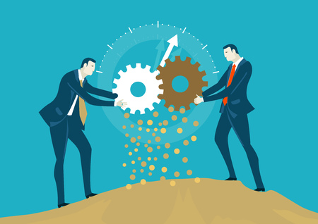 Two businessmen rolling gears, representing money making process as a team. Concept illustration