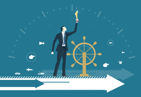 Business man next to ship steering wheel, controlling and developing business process on arrow, which moves him to future success. Concept illustration Stockfoto - 100787488