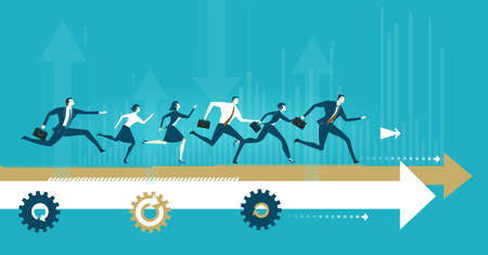 Group of business people running on the arrow towards a success. Concept business illustration