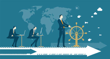 Business man next to ship steering wheel, controlling and developing business process on arrow, which moves him to future success. Concept illustration