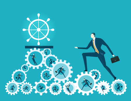 Business man walking up on the hip of cogs with office workers in it. Illustration