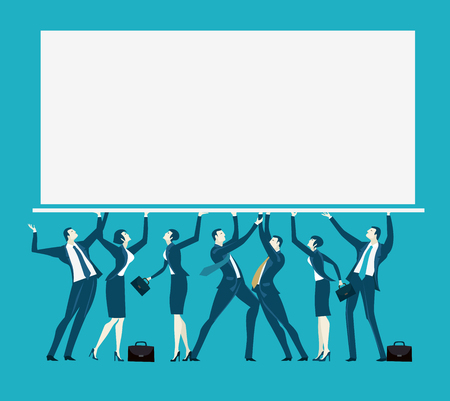 Team of business people holding up the screen with space for text