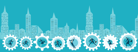 Modern city with skyscrapers and cogs rotated by business people on the way to success and business developing. Иллюстрация